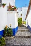 Straten van mooie Obidos, Portugal stock foto's