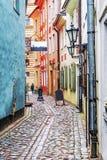 Straten van oud Riga, Letland stock afbeelding