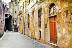 Straten van oud Toscanië, Italië Stock Foto's