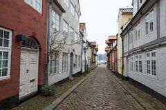 Straten van oude stad Flensburg, Duitsland Stock Fotografie