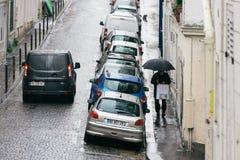 Straten van Parijs in de Regen stock foto