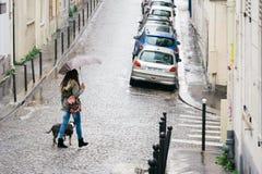 Straten van Parijs in de Regen Royalty-vrije Stock Foto