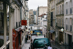 Straten van Parijs in de Regen Royalty-vrije Stock Afbeelding