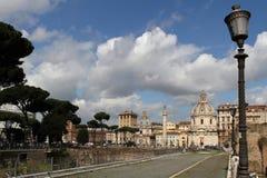 Straten van Rome dichtbij het Keizerforum Royalty-vrije Stock Foto