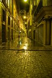 Straten van 's nachts Sevilla Stock Afbeelding