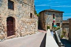 Straten van San Gimignano, oriëntatiepunt stock afbeeldingen