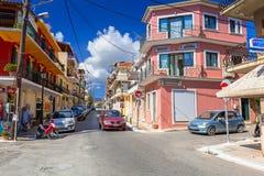 Straten van Zante-stad op het eiland van Zakynthos Stock Foto's
