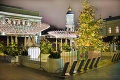 Stratendecoratie op Nieuwjaar en Kerstmisseizoen Moskou, 05 Januari, 2017 Royalty-vrije Stock Afbeelding