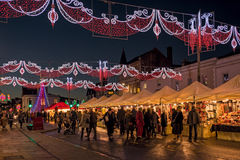 Stratford upon Avon Christmas Market. Stratford upon Avon Christmas market and illuminations on Bridge Street, Stratford upon Avon, England royalty free stock images