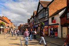 Architecture of Stratford on Avon, England, United Kingdom. STRATFORD UPON AVON, ENGLAND - JULY 10, 2016: Touristic street of Stratford Upon Avon, a market town Royalty Free Stock Photography