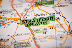 Stratford on Avon on a Road Map Royalty Free Stock Images