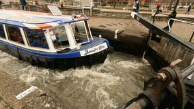 Stratford Upon Avon, UK - 26 November 2018 - Narrowboat Navigates Grand Union Canal Lock In Shakespeare Town stock footage