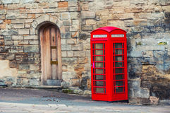 Stratford upon Avon, UK. Red british telephone booth. In the historical center of Stratford upon Avon, UK Stock Images
