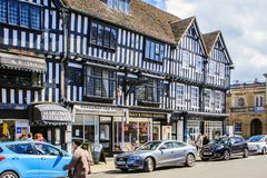 Stratford upon Avon, Warwickshire, England. The center and a shopping street in Stratford upon Avon Royalty Free Stock Photos