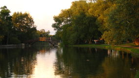 Stratford Ontario. Sunset on a river in Stratford Stock Images