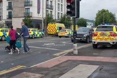 Stratford på avon warwickshire England Förenade kungariket April 2018 räddningstjänster utanför hotell med driftiga pramacros för royaltyfria foton
