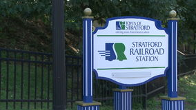 Stratford Railroad Station sign (2 of 2). A view or scene of Transportion stock footage