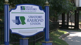 Stratford Railroad Station sign. A view or scene of Transportion stock video