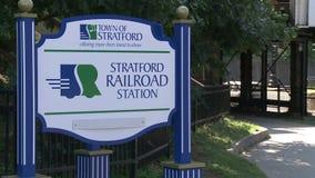 Stratford Railroad Station sign stock video