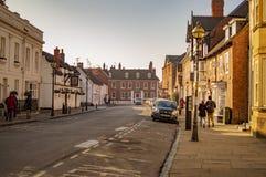 Stratford sur avon avec la grande vue de ville avec des côtés de la rue photos stock