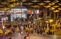 Stratford village shopping centre, London. LONDON, UK - NOVEMBER 29, 2014: Stratford village square. Shopping centre entrance and square with lots of people stock photos
