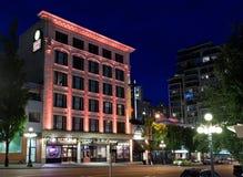 Strathcona pub przy nocą i hotel Zdjęcie Royalty Free