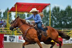 Strathmore  stampede. Strathmore  rodeo .  A cowgirl riding Royalty Free Stock Image