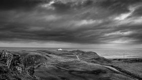 Strathy Point Lighthouse, Caithness, B&W Royalty Free Stock Photo