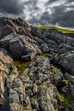 Strathy punktu latarnia morska Na górze Dzikich falez Przy Atlantyk wybrzeżem Blisko Thurso W Szkocja obraz stock