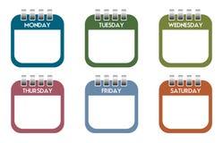 Strati del calendario di giorno di settimana Fotografia Stock Libera da Diritti