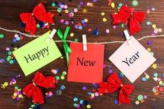 Strati di carta con il buon anno di parole Immagine Stock