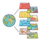 Strati di dati di concetto di GIS per Infographic Fotografia Stock