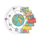 Strati di dati di concetto di GIS per Infographic Fotografie Stock