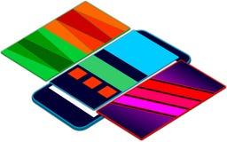 Strati di galleggiamento mobili di presentazione 3D di app di web sopra lo schermo mobile Fotografia Stock Libera da Diritti