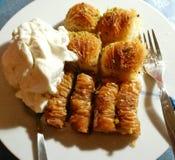 Strati greci con la vaniglia del gelato Immagine Stock Libera da Diritti