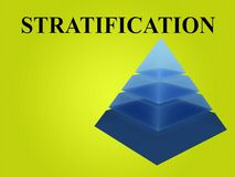 STRATIFICATION - social concept. 3D illustration of STRATIFICATION script with sliced pyramid on green gradient background Stock Photography