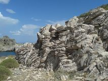 stratified rock Royaltyfria Bilder