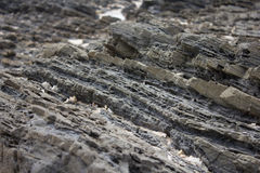 Stratified rocks in a cliff face. Rock layer Royalty Free Stock Image