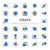 Stratis Crypto Currency icons set. For web design and application interface, also useful for infographics. Vector illustration Royalty Free Stock Photos