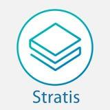 Stratis Strat decentraliserade logo för vektor för blockchaincriptocurrencyplattform Arkivfoton