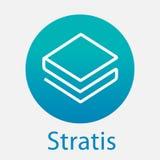 Stratis Strat descentralizó el logotipo del vector de la plataforma del criptocurrency del blockchain Imagen de archivo