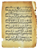 Strato antico della nota con le note isolate Immagine Stock