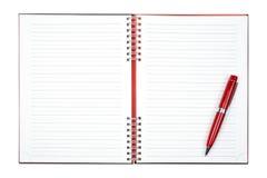 Strato in bianco del taccuino con la penna Fotografie Stock