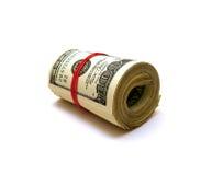Strato cento dollari sopra bianco Fotografie Stock Libere da Diritti