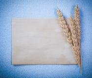 Strato d'annata della carta in bianco delle orecchie della segale su fondo blu direttamente a Fotografie Stock