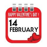 Strato del calendario di giorno del biglietto di S. Valentino Immagini Stock