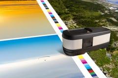 Strato della stampa con il colpo di misura della barra dei colori fotografie stock