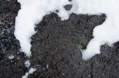 Strato dello scisto del carbone nel profilo del suolo neve Fondo nero di struttura del carbone Dettagli sulla superficie di carbo fotografia stock libera da diritti