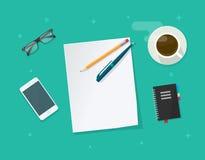 Strato di carta con la penna sul vettore dello scrittorio del lavoro, tavola della matita di funzionamento Fotografia Stock