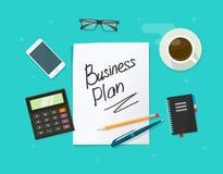 Strato di carta del business plan sul concetto di vettore della tavola di funzionamento Immagini Stock